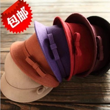 Bow bowler hat female Korean autumn and winter days pots of pure wool hat hat hat British retro child