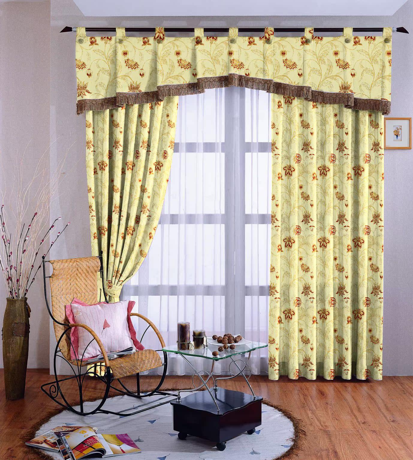 特价清仓 高档客厅卧室定做金丝花朵成品窗帘 浅黄色叶子遮光图片