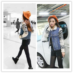Korean style fur collar cotton insulation sleeve denim shirt
