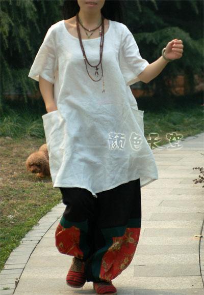 женская рубашка Color of the sky Оригинальный дизайн Короткий рукав Однотонный цвет Закругленный вырез
