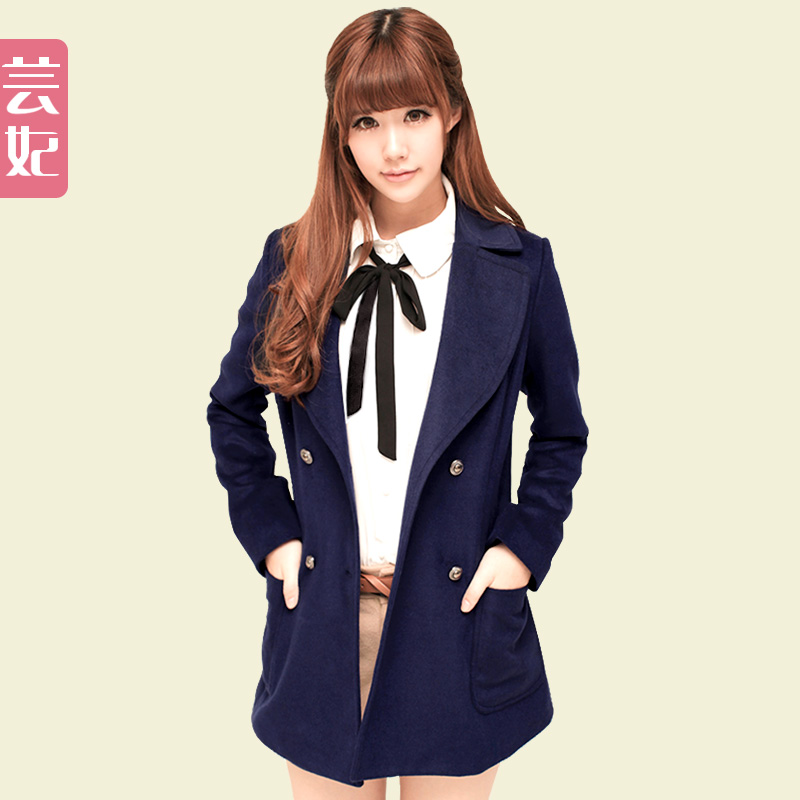 Yun fei Barret coat winter coats women's fall/winter women's wear woolen cloth coats Korean lapel coat College wind