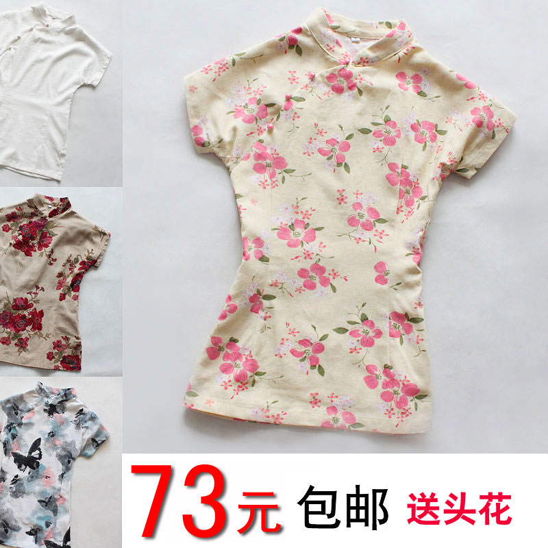 Summer dress new Chinese wind cotton and linen clothing dress shirt vintage improved female Chinese linen short sleeve shirt