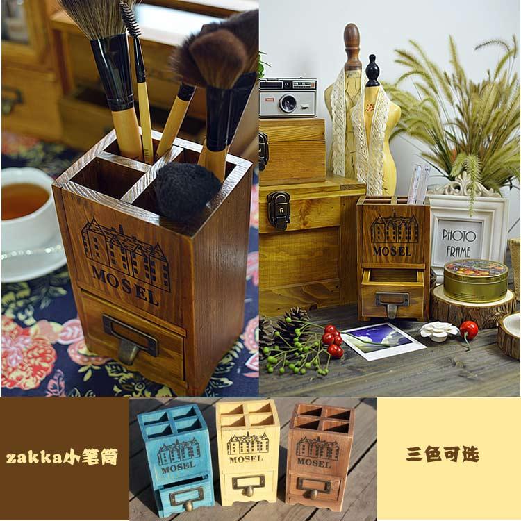 zakka 杂货 实木复古做旧 桌面收纳盒 笔筒 摆件 带抽屉 文艺范