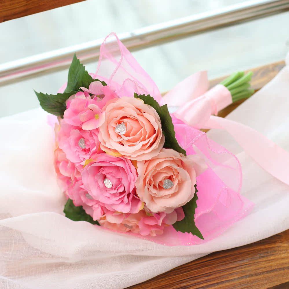 新娘手捧花仿真花DIY材料个性设计创意韩式婚庆用品玫瑰批发包邮
