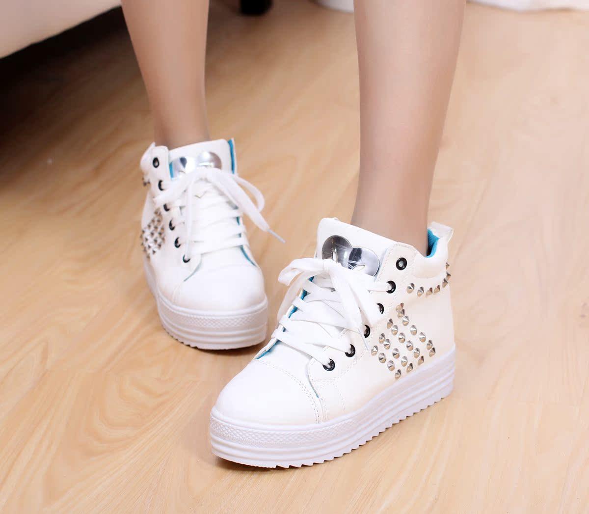 Круглый носок Плоская подошва Шнурок Средний каблук (3 -5 см) Прошитая обувь Заклепки, Платформа Однотонный цвет