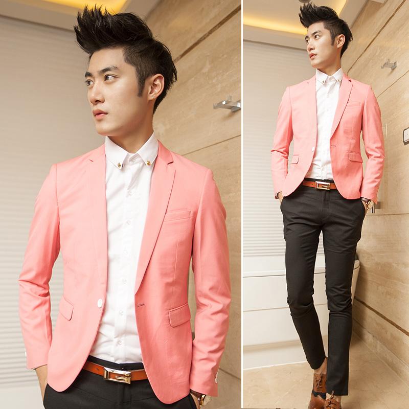 薄西装 修身一粒扣小西装 男 韩版潮男士休闲西服粉红