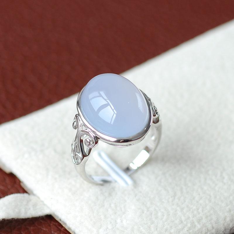 天然蓝玉髓戒指纯银镶嵌古典款式优雅台湾原产宝石纯净无暇珍藏级图片