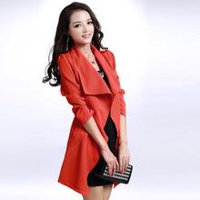 春秋新款大翻领气质简约通勤长袖风衣外套修身红色韩版女装