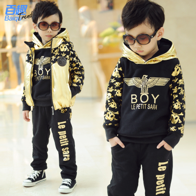 Kids Winter Fun boy one hundred children plus thick velvet warm sweater Kids bunk three-piece suit