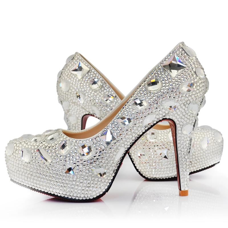 奢华水晶宴会婚鞋 防水台高跟水钻鞋真皮内里白色 夜店演出鞋