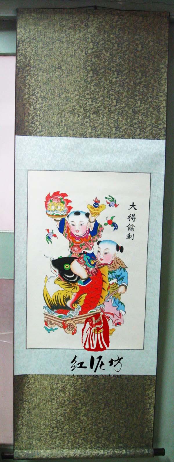 【手绘年画】大得余力 天津杨柳青纯手绘年画娃娃特色