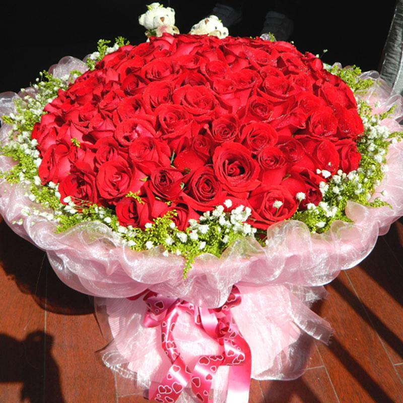99朵红玫瑰北京鲜花速递上海杭州广州南京深圳天津花店求婚鲜花束