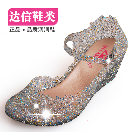 Hole bird's nest shoes sandals, plastic Crystal shoes high heels wedges Sandals shoes, jelly shoes women's shoes new summer package mail