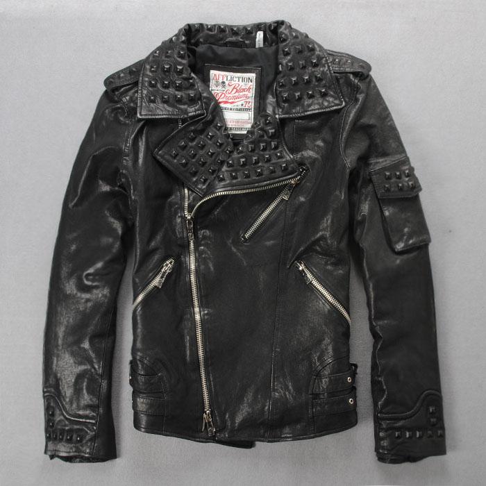 Одежда из кожи Century Tin Lok Affliction Одежда из натуральной кожи Шевро Отложной воротник