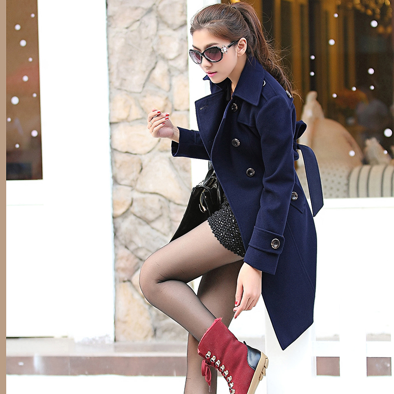 Micro-2013 spring new Korean Shin in long woolen cloth slim base Barret coat sweater jacket [NY3275]