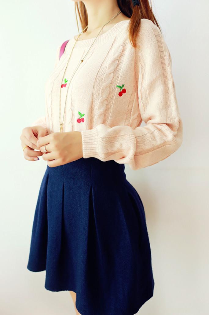 Трикотаж Винтажные старинный розовый вышитые Черри твист пуловер Мори девушка милые девочки кофты