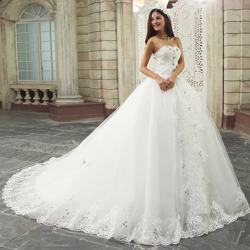 The ultimate luxury diamond bride wedding dress big tailed French lace romantic high-grade 2014 latest wedding