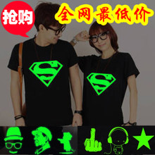 2013 summer new Korean Women tide lovers Personalized Superman luminous fluorescent class service short-sleeved T-shirt lovers