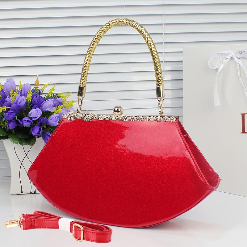 2013女包新款韩版手提包女士包包漆皮小包红色包包新娘包带钻婚包