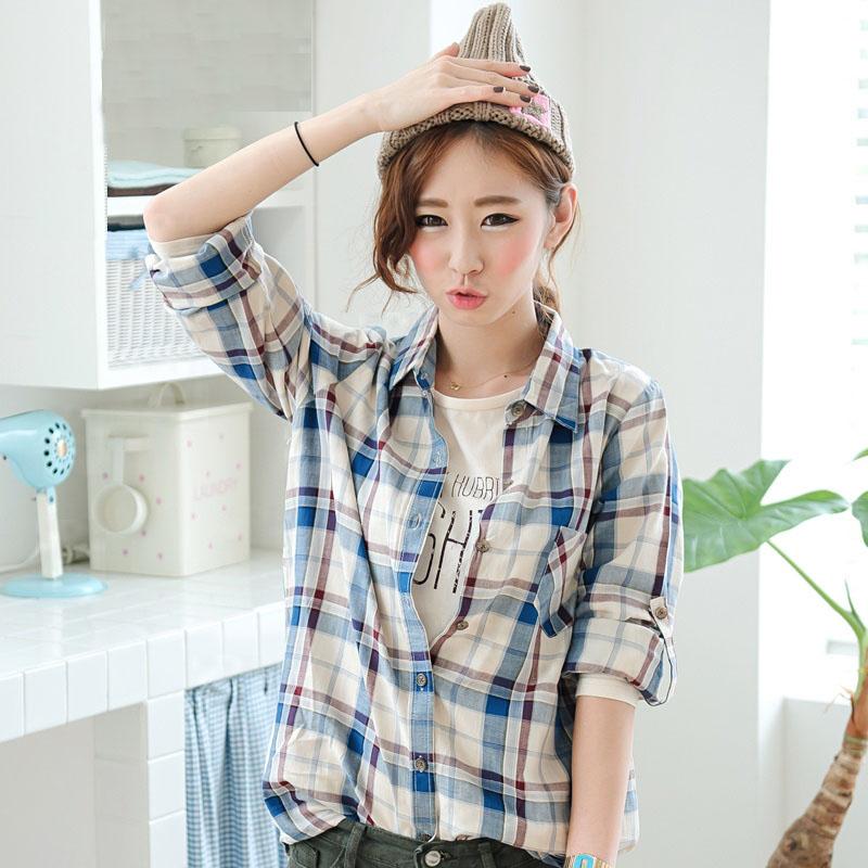 женская рубашка vivilove韩国进口2013秋装蓝色格子小清新宽松百搭口袋衬衫衬衣