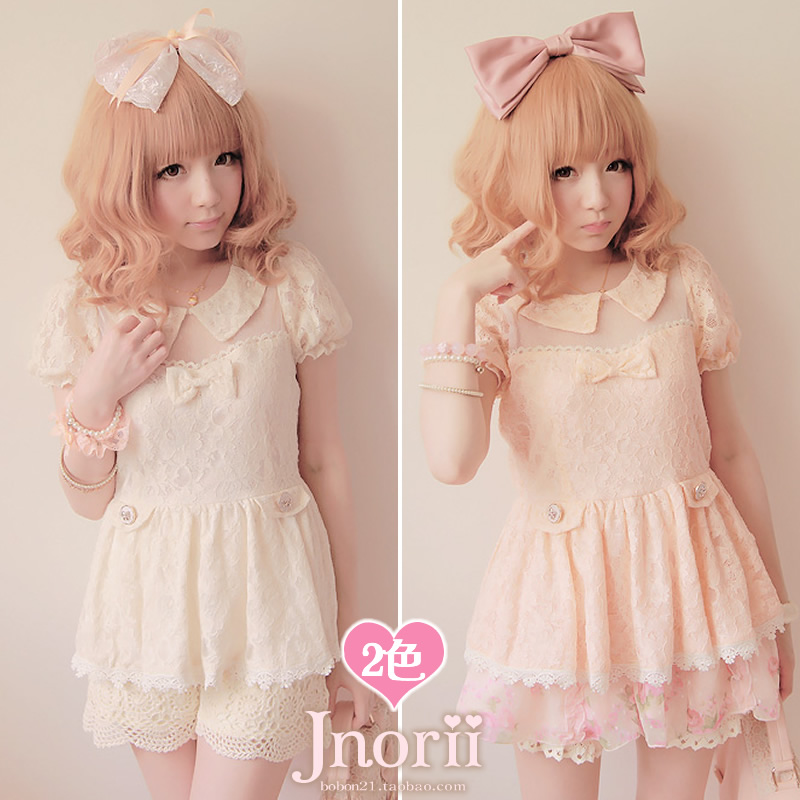 BOBON21{exclusive original design} full lace stitching puff sleeve dress doll blouse transparent T0804
