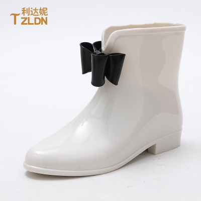 2014 tide angel garden bow overshoes jelly rain boots warm boots shoes fashion short tube Ms. water shoes
