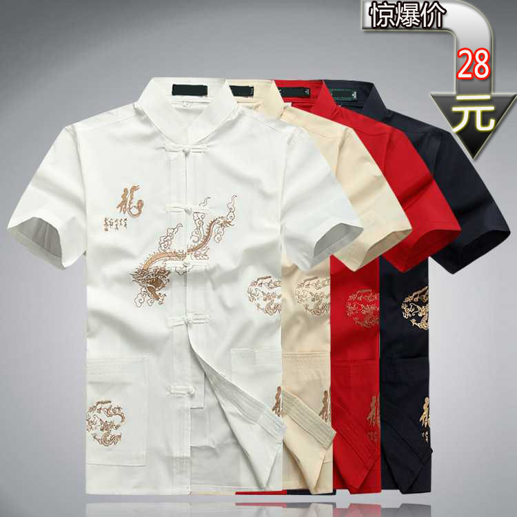 Middle aged men's clothing men's short sleeve add fertilizer to increase men's short sleeve summer cotton man's half-sleeve dresses on sale