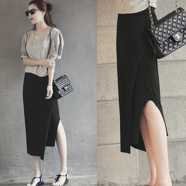 Step package hip skirt modal skirts MIDI skirt render package in Europe and the United States in spring and summer skirt stretch cotton split Taobao Agent