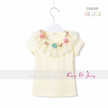 2013 summer new children's clothing female baby solid color casual short-sleeved t-shirt lady bottoming shirt collar decorated with three-dimensional