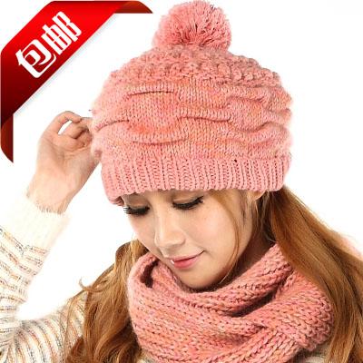 Набор из двух предметов Женщины шляпы зимой Корейский приливные утолщенные ананас мяч бейсбол добавить два длинный шарф шарф шерсть шляпа Kit почта