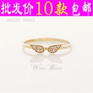 0853义乌厂家直销 镶钻天使翅膀对开口均码小巧戒指 指环饰品批发