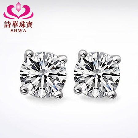520 hot sell! Poetry China jewelry 18K white gold earrings diamond stud earrings for men and women get 18K Gold hard of hearing