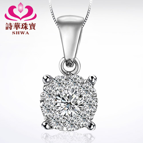 Effect 1 Carat jewelry 20 poems China sent 18K pendant necklace white gold diamond pendant necklace genuine