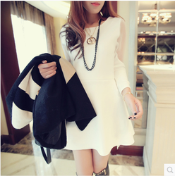 Dress ladies temperament slim long sleeve organza stitching