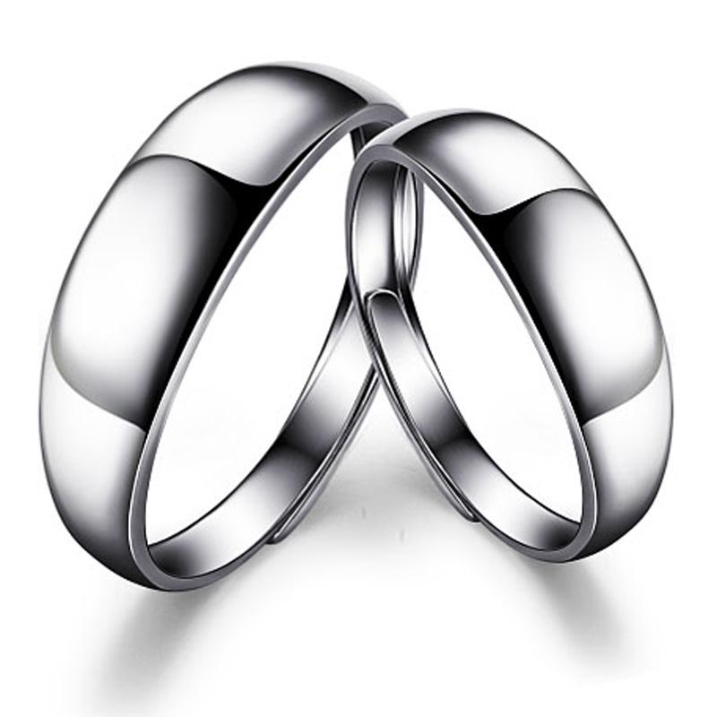 瑗昕简爱经典925纯银光面戒指开口情侣对戒精美雕刻结婚戒DA18