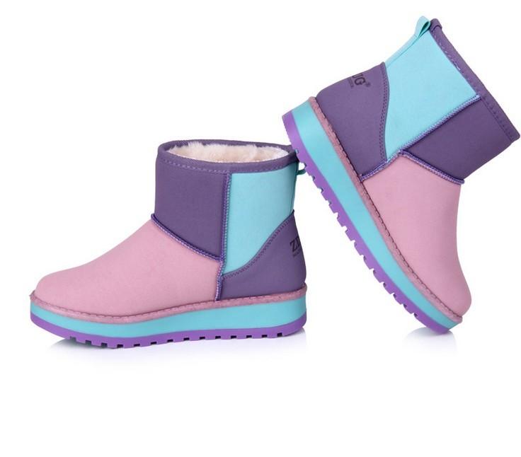 女鞋 雪地靴/[11特价] 雪地靴牛皮女靴子防滑牛筋底中筒靴棉靴冬靴女鞋拼色...