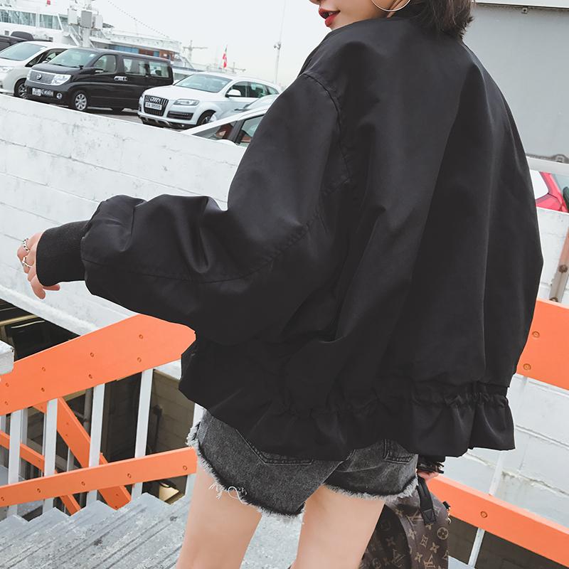 西西小可黑色宽松长袖外套女短款春秋韩版休闲学生棒球服夹克上衣