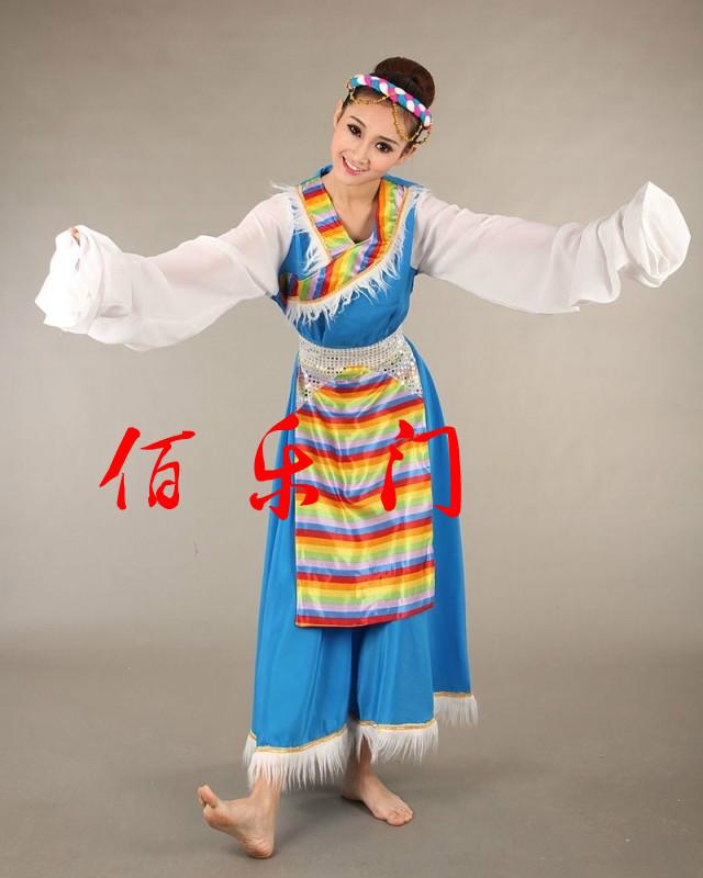 Национальный  костюм Широкий пояс с jiachangshui рукавами атласа как тибетские одежды площадь танцоры выполнения женского тибетский, выполняя танцевальные костюмы