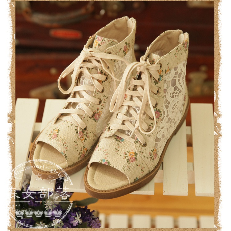 Sen female tribe 2014 summer new shoes Japanese Sen female line lace floral women shoes comfortable flat sandals
