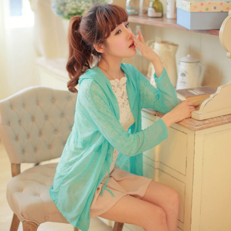 2013 thin jacket women spring summer sun dress length sleeves, transparent shirt shirt Korean Sun Sun-protective clothing Beach shirts