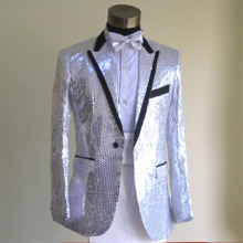 Love 99 silver sequins suit stage costumes moderator clothing chorus clothing male singer