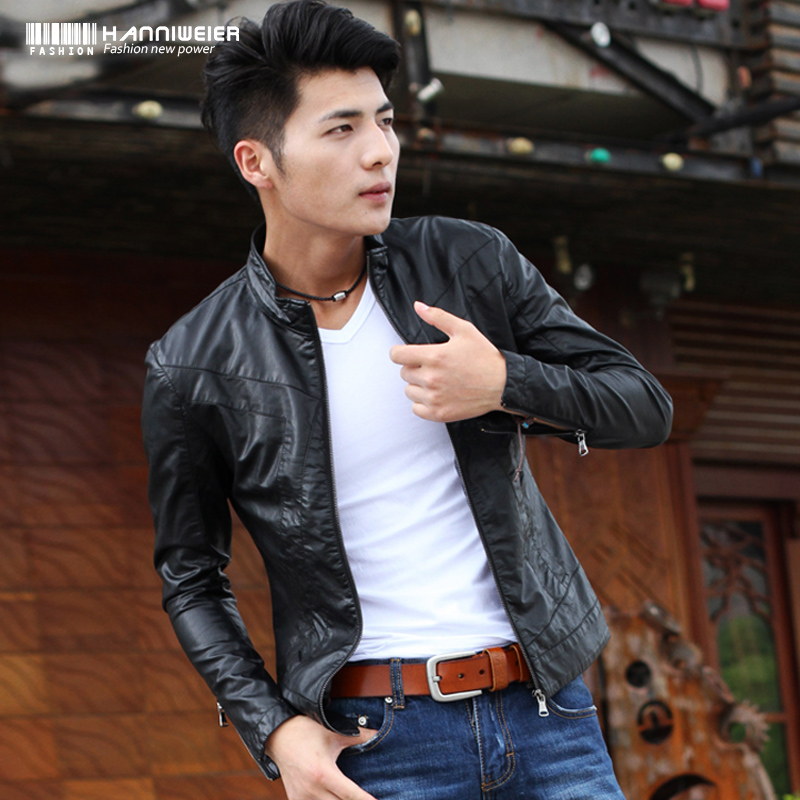 Honeychurch, spring Wei environmental protection new thin male Korean men's leather collar slim fit jacket men's wagon of PU jacket