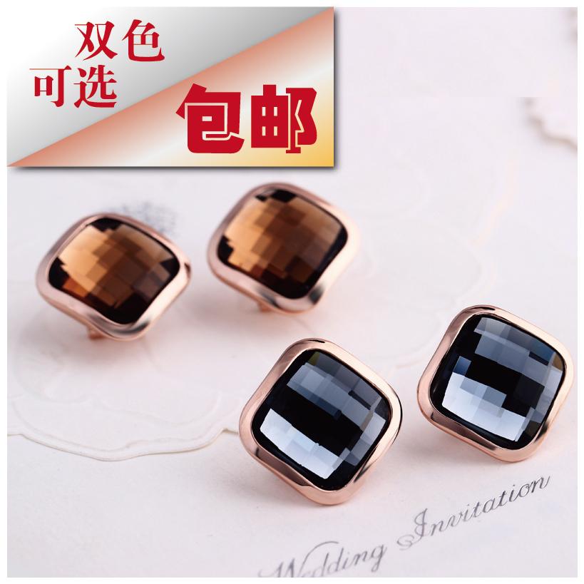衣饰戒耳钉耳饰简单大气双色可选几何形体菱形方形饰品防过敏包邮