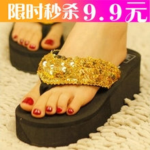 [M fold net Exclusive] muffin with sequins foam bottom slope with flip flops sandals casual shoes sandals and slippers