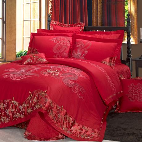 特价家纺全棉大红结婚庆床品刺绣六件套龙凤呈祥套件床上用品包邮