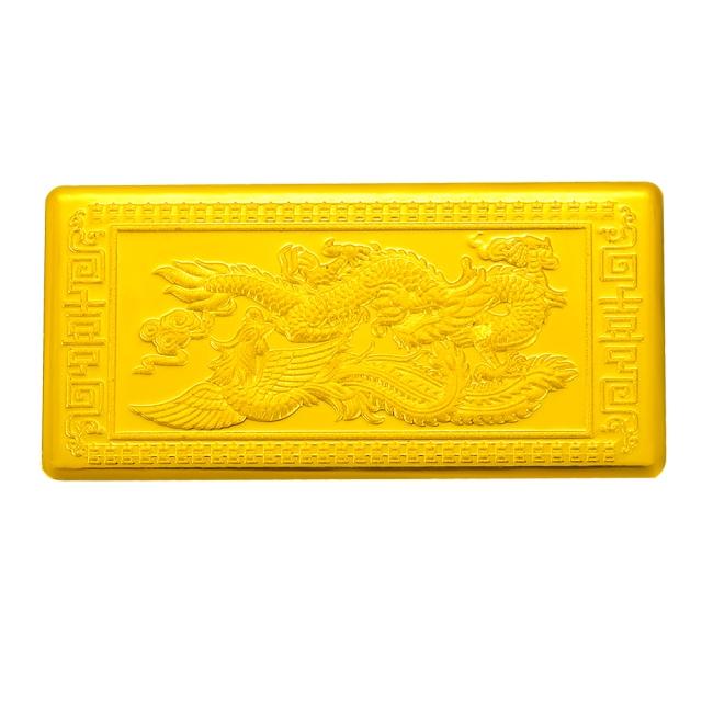 佐卡伊珠宝 黄金金条10克千金条黄金婚嫁礼物收藏版 龙凤呈祥