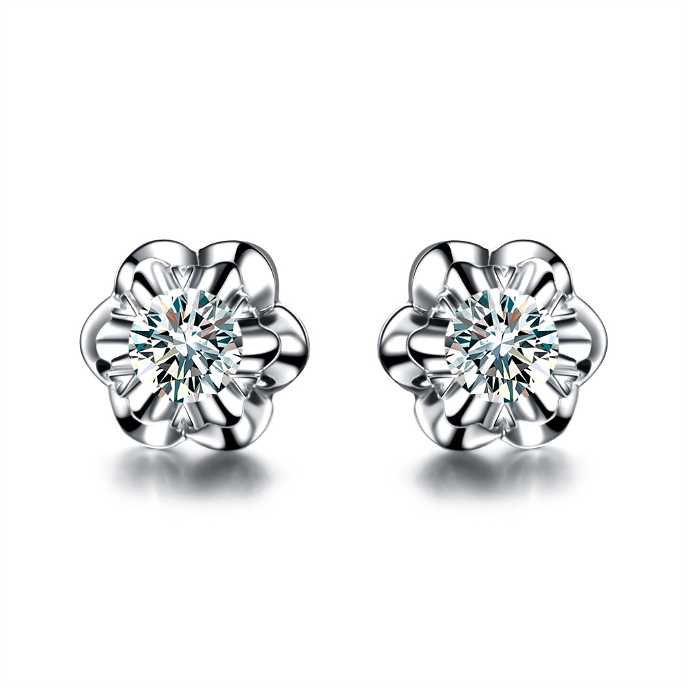 Zoccai jewelry 18K White Gold Diamond Stud Earrings diamond earrings romantic Sakura-exclusive design