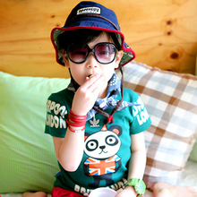 Special panda banner sleeved vest T-shirt | 2013 Summer Korean version of the new children's baby male and female children 4553