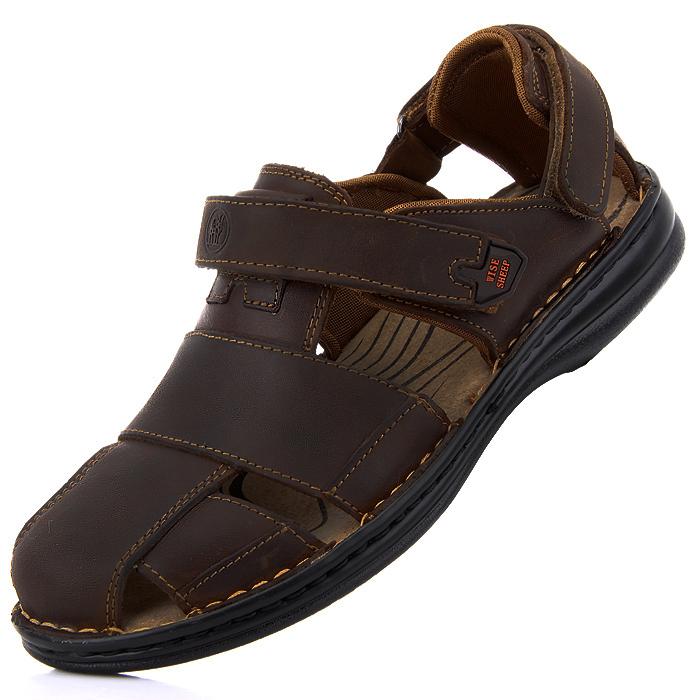 Сандали Летние мужские сандалии в Баотоу Натуральня кожа платформа Великобритании открытый кожа Римской отверстие воздушная почта