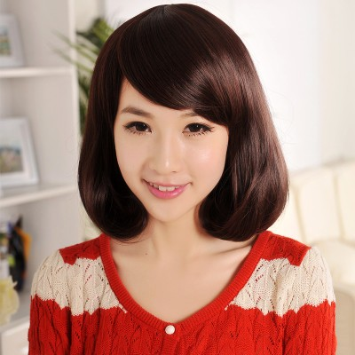 Dream silk one thousand high-temperature wire wig sweet pear head bangs oblique fashion classic realistic natural kind shooting